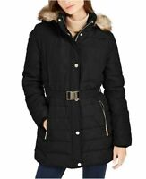 Womens Vince Camuto Hooded Faux-Fur-Trim Belted Puffer Coat XL Black