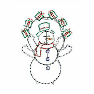 ProductWorks 60in Pro-Line LED Animation Snowman with Gifts Christmas Decoration