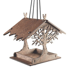 Enchanted Forest Hanging Bird Feeder - Outdoor Wooden Bird Feeding Platform