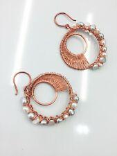 Handmade fresh water pearl Moon Phase Earrings in Copper - Non tarnish