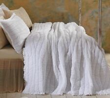 Twin Quilt White Cotton Voile Gray Hand Stitched Ruched Waves Ruffle Edge Aurora