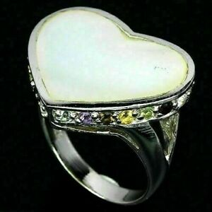 Ring Mother of Pearl and Mixed Gem Genuine Gems Sterling Silver Heart L 1/2 US 6