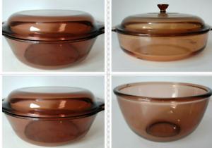 Vintage Retro Vision Corning France Amber Glass Lidded Casserole Dishes/Bowls