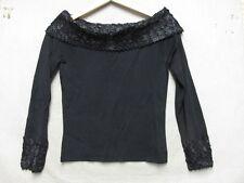 V5740 Cabo Nylon Noir Mélange Tricot W/Zig-Zag Lacets Magnifique Pull Femmes M