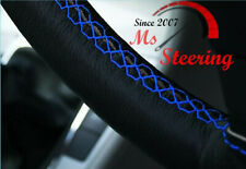 FOR DISCOVERY 2 99-04 BLACK LEATHER STEERING WHEEL WITH BLUE DOUBLE  STITCHING