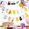 2pcs Birthday Party Banner Theme Animals Hanging Decor for Kids Room Baby Shower