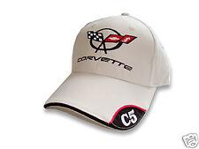 C5 Corvette Bone Brushed Cotton Hat with Brim Emblem