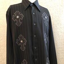 Fender The Collection By Da Vinci Mens Button Dress Shirt Black Rockabilly