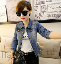 Vintage Womens POLO Lapel Rivets Studded Jacket Denim Jeans Coat Outwear S-XXL