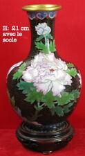 Vase cloisonné, Chine, fleurs et oiseau, dimensions sur photos