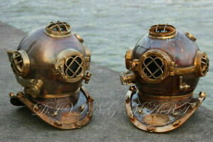 Pair of Vintage Diving Helmet Made From Copper and Brass Heavy Weight Mark V