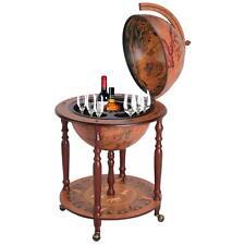 Wooden Globe Wine Trolley With 4 Wheels Brown Bottle Storage Stand Drink Rack
