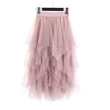 Women's Korean Tutu Skirt Irregular Mesh Long Skirt High Waist Bottoming SkirVe
