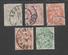 France -Timbres oblitérés - Série Type Blanc - N°107 à 111 - 1900