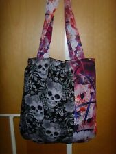 HANDMADE BLACK SKULL AND PINK FLORAL SCUBA PRINT 14in Tote book bag