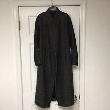 Rick Owens Nappa Leather Sleeve Wool Mohair Bouclé Brown Coat Jacket Size 40