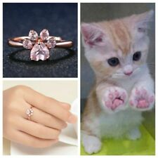 Cute Rhinestone Rose Gold AAA Zircon Cat Claw Ring Opening Adjustable Bear Paw
