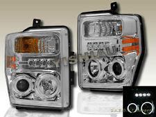 2008-2010 FORD F250/F350/F450 Chrome CCFL Twin Halo Projector Headlights L.E.D