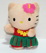 NEW Hello Kitty Girl HAWAII Plush DOLL Toy Green Grass Skirt Yellow Lei San Rio