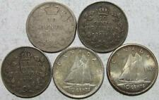 Canada, 10 Cents Silver Lot, 1888-1960, 5 Pieces, .2673 Ounce Silver