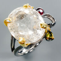 Handmade Natural Rutilated Quartz 925 Sterling Silver Ring Size 7.75/R110756