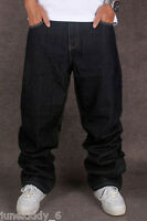 New Men's Black Jeans Denim Baggy Loose Casual Pants Trousers Hip-Hop W30-W46