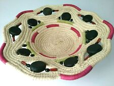 Wicker Baskets Wall Hanging Boho Decor Woven Pink Black Green Plaque