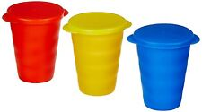 Plastic Set of 3 Tumbler Glass with Lid (375ml) Multicolor Assorted