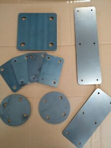 MILD STEEL Square 3-10mm FIXING PLATE 75, 100, 125 & 150 mm  Laser Cut 4 Holes