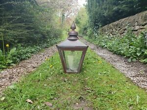 Large reclaimed copper Victorian style lamp post top/ street light/lantern patio