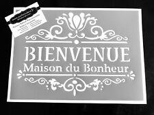 Pochoir Adhésif Réutilisable 30 x 20 cm Affiche Bienvenue Vintage / Made in FR