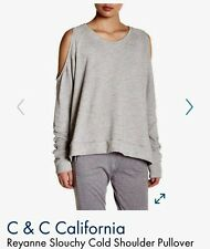 C&C California Cold Sweatshirt Shoulder Top Long Sleeves Gray Color size Large