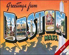 VINTAGE BOSTON MASSACHUSETTS VACATION TRAVEL AD POSTER ART REAL CANVAS PRINT