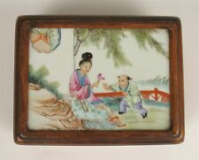 Chinese Porcelain Qing Dynasty 19th C.  Plaque In Nanmu Wood Box