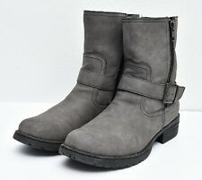 BOC Born Women's Sz 8.5 Gray Faux-Leather Biker Double Zip Belted Riding Boots