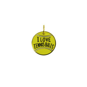 Metal I Love Tennis Balls Dog Tag Enamel Animal Collar ID Pendant Pet Charm Gift