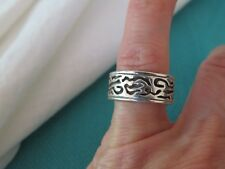 SOUTHWESTERN STERLING SILVER ETCHED 8 MM WIDE BAND RING SZ 6