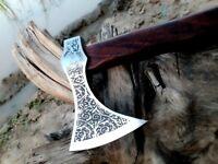 MDM HAND ENGRAVED TOMAHAWK COMBAT HATCHET BEARDED WALNUT WOOD AXE - RAZOR SHARP