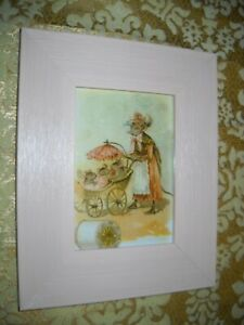 MOTHER MOUSE WALKS WITH MICE IN BUGGY 3 X 5 pink framed Victorian style print