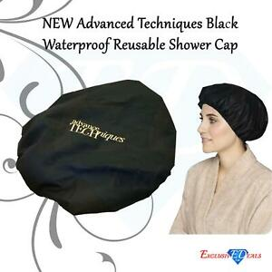 Black Waterproof Reusable Shower Cap Super High Quality - Inner Fabric Lining