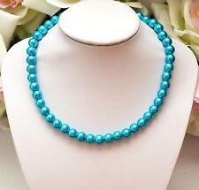 Modeschmuck-Halsketten aus Glas mit Türkis-Hauptstein