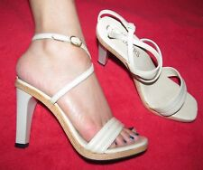 Vintage 1990s Chandler'S Sexy White leather & wood ankle strap sandals women's 5
