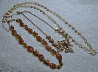 VINTAGE TO NOW BEADED AMBER LUCITE & RHINESTONE PENDANT GOLD TONE NECKLACE LOT