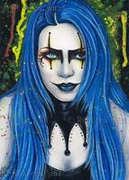 Harlequin Art PRINT Gothic Fantasy Creepy Colorful Jester Blue Hair Makeup