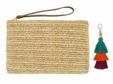AGNETA Women's Hand Wrist Type Straw Clutch Summer Beach Sea Handbag (Beig Large