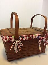 """Vintage Woven Wooden Rustic Picnic Basket Checker Print Lining L 22"""" W 11"""" Prop"""