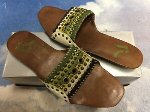 Report Lime Multi Leather Slip-On Open Toe Flat Slide Sandals Womens Size 8, 10