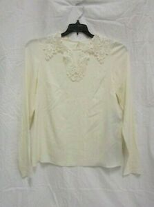 NWT Dolce & Gabbana Lace Trimmed Ivory Blouse Top