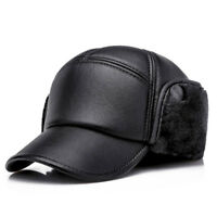PU Leather Baseball Cap Men Outdoor Warm with Ear Flaps Winter Dad Hat