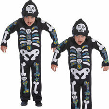 Hooded Skeleton Boy Costume Childs Halloween Fancy Dress Outfit New